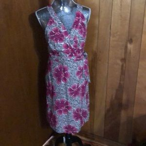 Tropical Print Wraparound Sun Dress